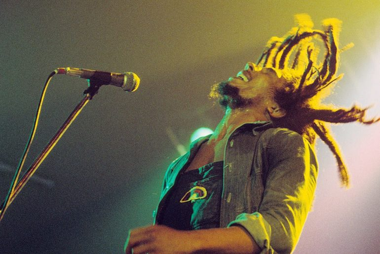 Bob Marley performs on stage with The Wailers at Houtrust Hallen on 13th May 1977 in The Hauge, Netherlands. (Photo by Gijsbert Hanekroot/Redferns)
