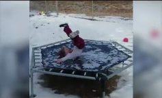 Τι γίνετε αν πηδήξεις σε παγωμένο τραμπολίνο;