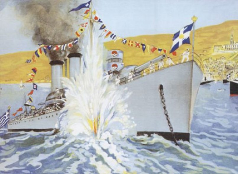 Γεγονός συγκλονιστικό σκιάζει τη γιορτή της Μεγαλόχαρης στην Τήνο, όταν το καταδρομικό του ελληνικού πολεμικού ναυτικού «Έλλη» τορπιλίζεται από τους Ιταλούς