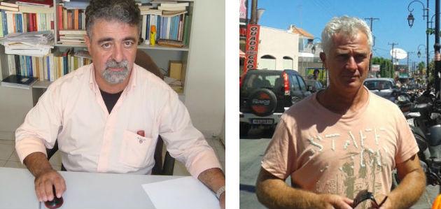 Λευτέρης Μιχελάκης, εκπαιδευτής οδήγησης και μέλος του Συλλόγου «SOS Τροχαία Εγκλήματα». Δεξιά, ο αντιδήμαρχος Μαλίων Μανώλης Κουλούρας