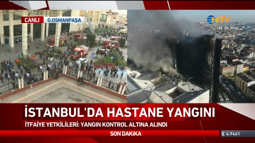 Σε εξέλιξη τεράστια φωτιά σε νοσοκομείο στην Κωνσταντινούπολη